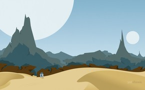 desert, robot, Planet, Mountains