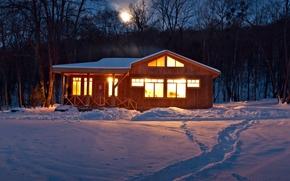 полноэкранные, широкоформатные, свет, широкоэкранные, обои, домик, зима, вечер, следы, деревья, дом, небо, фон, снег, природа