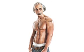 Scientist, Albert Einstein, relief, Muscle, humor, press, tattoo, formula, torso, background, tattoo, Muscles, Physicist