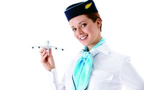 ✈., фон, улыбка, бортпроводница, в, модель, стюардесса, стиль, белый, руке, игрушечного, униформа, красивая, позитив, самолета