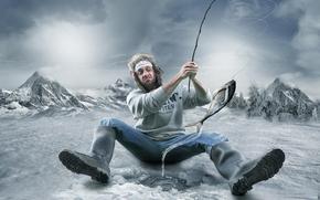biting, muzhik, winter, humor, sweeps, fisherman