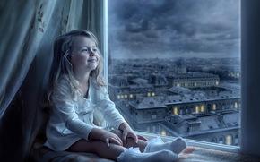 улыбка, город, ребёнок, окно, вид, девочка