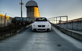 Front, white, sky, BMW, fence, BMW, barbed wire