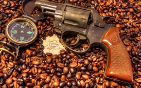 compass, six-, coffee, map, revolver, Madrid, Grain, Spain