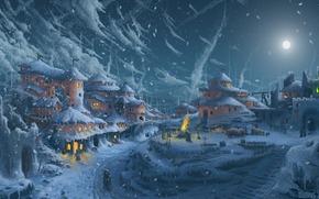 дома, арт, ночь, снег, окошки, свет, сугробы, дорога, луна, живопись, холод