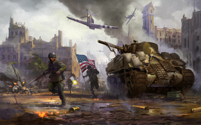 flag, weapon, soldiers, fight, war, destruction, city, smoke, tank