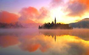 lago, agua, niebla, naranja, paisaje, torre, calor, belleza, isla, naturaleza