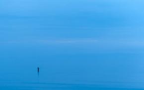 mare, minimalismo, uomo