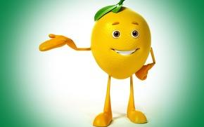 класс, зеленый фон, взгляд, улыбка, лимон