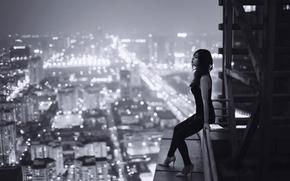 chica, noche, TRISTEZA, techo, altura, Vietnam, soledad, ciudad