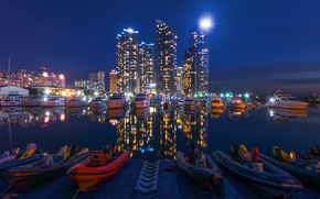 High-rise buildings, berth, blur, wharf, beautiful, boats, city, Calm, reflection, lighting, Yacht, Boat, Skyscrapers, night, bokeh, water