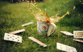 cards, cup, mug, greens, grass, drops, tea, spray