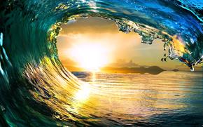 landscape, sea, sun, nature, Tropical paradise, waves, ocean