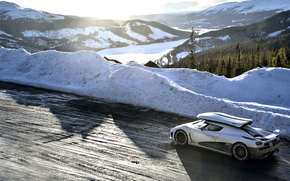 el mejor programa de televisión, blanco, Ager p, Kenigsegg, Montañas, carretera, marcha más, nieve, Supercars, Top Gear, giperkar, Supercar