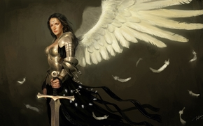 girl, Art, wings, sword, angel, Armor
