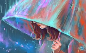 chica, paraguas, Arte, lluvia