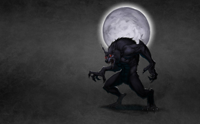 dusky background, moon, red eyes, wolf, smoke, werewolf