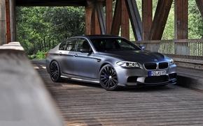 БМВ, BMW, вид спереди, опоры, мост, матовый серый