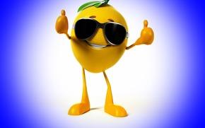 Limón, clase, fondo azul, gafas, sonreír