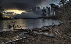 NUVOLE, fiume, sera, alberi