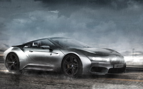 avtooboi, in motion, render, BMW, BMW, rain