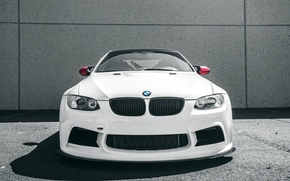 tuning, LIGHTS, bumper, passenger car, BMW, background, White, BMW