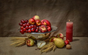 grapes, still life, nut, apples, pears, candle, fruit