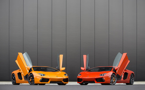 Lamborghini, orange, red, Two, yellow