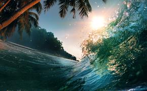 Palme, paesaggio, Bella scena al tramonto, natura, Paradiso tropicale, onda del mare, spruzzi, luce del sole, acqua, oceano, onde, mare
