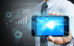 man, link, hi-tech, SMARTPHONE, continents, Internet