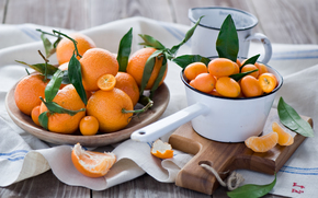 fruit, board, oranges, kumquat, tangerines, foliage, peel, orange, crockery