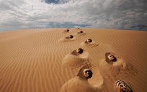 маски, следы, пустыня, песок, фантазия