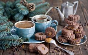 Coni, inverno, cioccolato, caffè, caramello, servizio, Dessert, abete rosso, FILIALE, coppe, cottura, biscotti