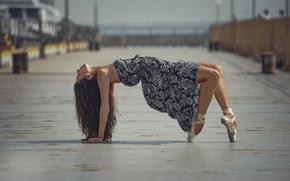 pointes, città, ballerina, grazia, vestire, ballare