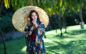зонт, наряд, стиль, азиатка, девушка