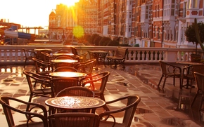 early morning, city, tables, terrace, sunlight, outdoor cafe, old-fashioned, chairs, cafe