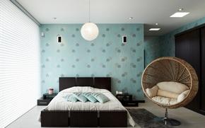 wicker chair, bed, BEDROOM