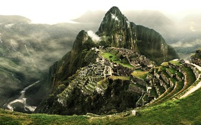 Peru, City of the Incas, clouds, river, Machu Picchu, stage, mountain