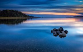 reflection, nature, shore, evening, sky, stones, azure, smooth surface, sunset, forest, river, Norway, water, trees, clouds