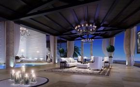 room, design, chair, interior, Candles, sofa
