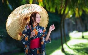 азиатка, стиль, зонт, девушка, наряд