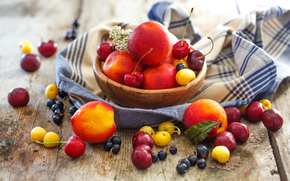 BERRY, peaches, still life, nectarine, plate, fruit, currant, summer, cherry