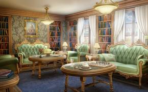 light, bookcase, Books, table, Art, tea, room, sofa, stemware, windows