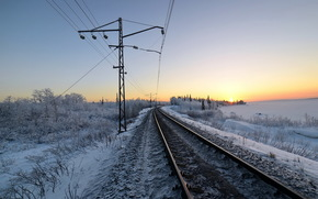 winter, snow, morning, railroad