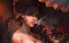 tattoo, hairstyle, geisha, kimono, screen, Flowers, smoke, Earrings, barrette, Art, smokes, girl, pattern
