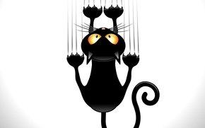 черный, когти, животное, кот, вектор, хвост, взгляд