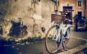 budynek, ulica, dom, ściana, rower, granica, plama