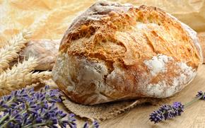 выпечка, лаванда, стол, хлеб, еда, цветы
