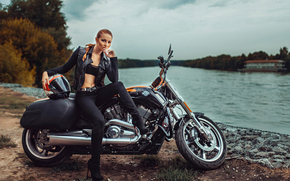 motorcycles, Russia, girl, motorcycle
