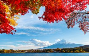 mountain, autumn, Japan, sky, trees, Fujiyama, snow, lake, foliage, clouds